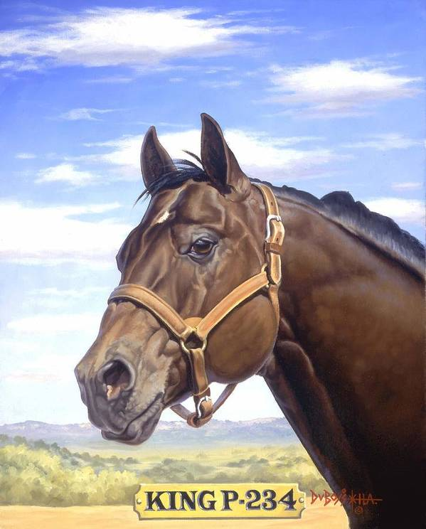 Quarter Horse Art Print featuring the painting King P234 by Howard Dubois