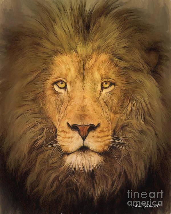 Lion Art Print featuring the digital art Lion by Tim Wemple