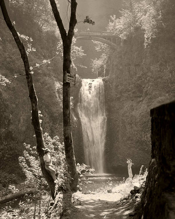 Multnomah Falls Art Print featuring the photograph Lower Multnomah Falls by Unknown