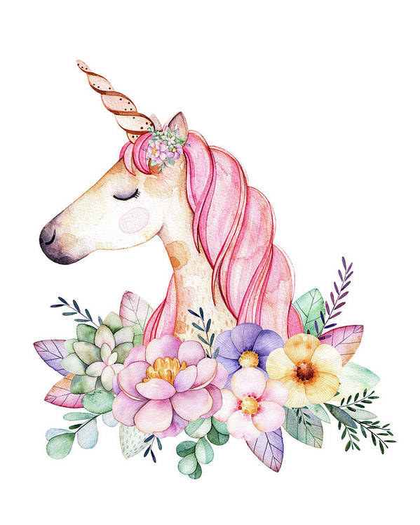 Fantasy Art Print featuring the digital art Magical Watercolor Unicorn by Lisa Spence