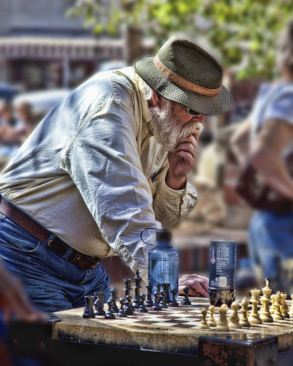 Chess Art Print featuring the photograph Master Chess Player by Bill Linhares