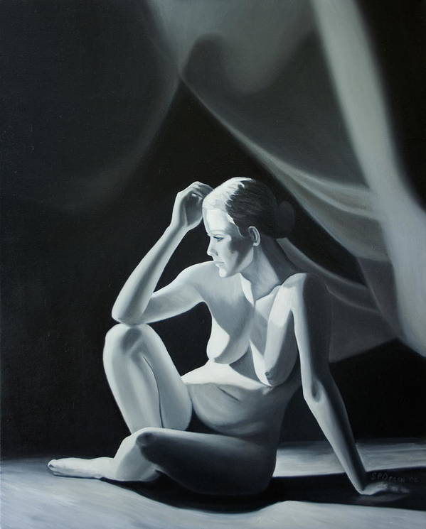 Figure Art Print featuring the painting Reflection In Gray by Stephen Degan