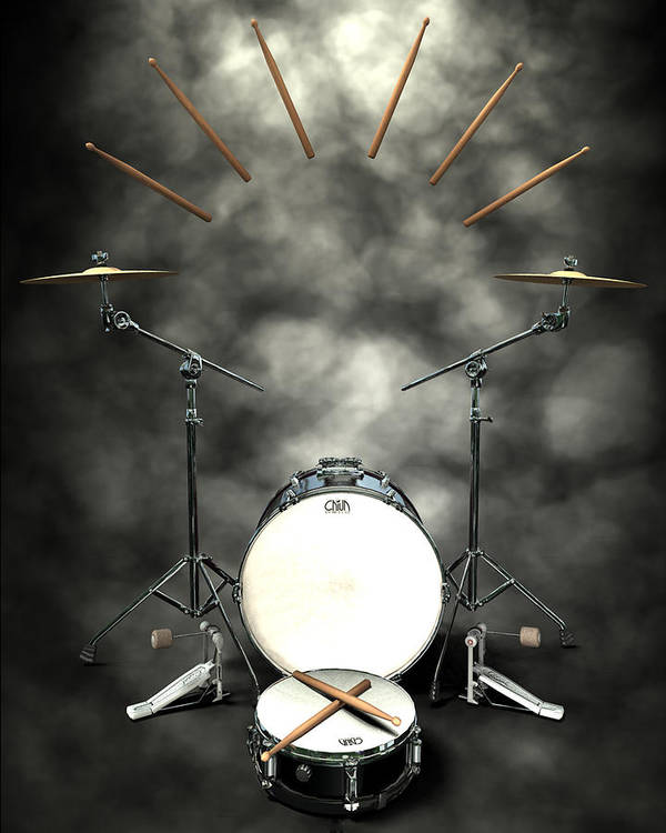 Rock N Roll Art Print featuring the digital art Rock N Roll Crest-the Drummer by Frederico Borges