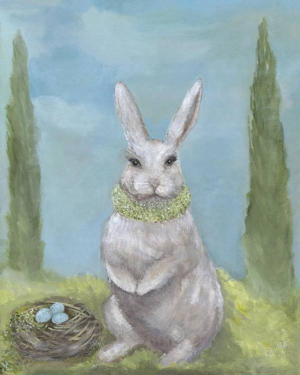 Bunny Art Print featuring the painting Rosemary Rabbit by Kimberly Hodge