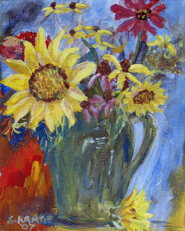Sunflower Art Print featuring the painting Summer Flowers by Sandy Krage