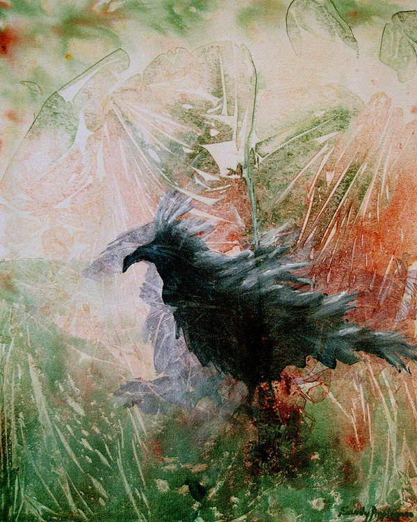 Raven Art Print featuring the painting The Raven Sitting Lonely by Sandy Applegate