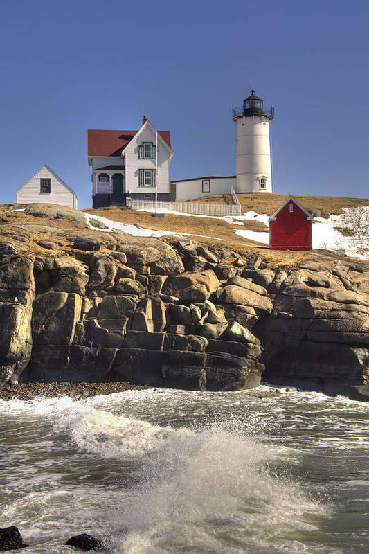 Water Art Print featuring the photograph Nubble Lighthouse 3 by Joann Vitali