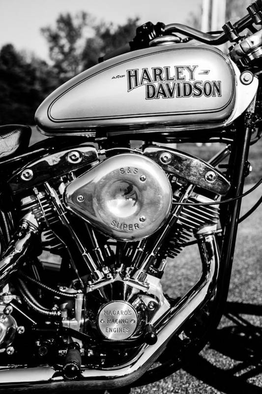 Black And White Art Print featuring the photograph 1981 Hd Tank And Motor by Chet Dabrowski