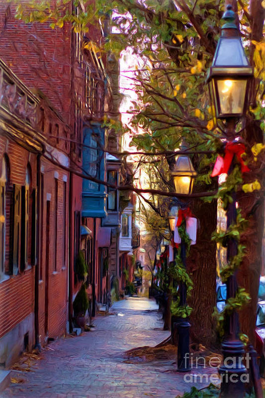 Lamp Post Art Print featuring the photograph Beacon Hill Streets by Joann Vitali