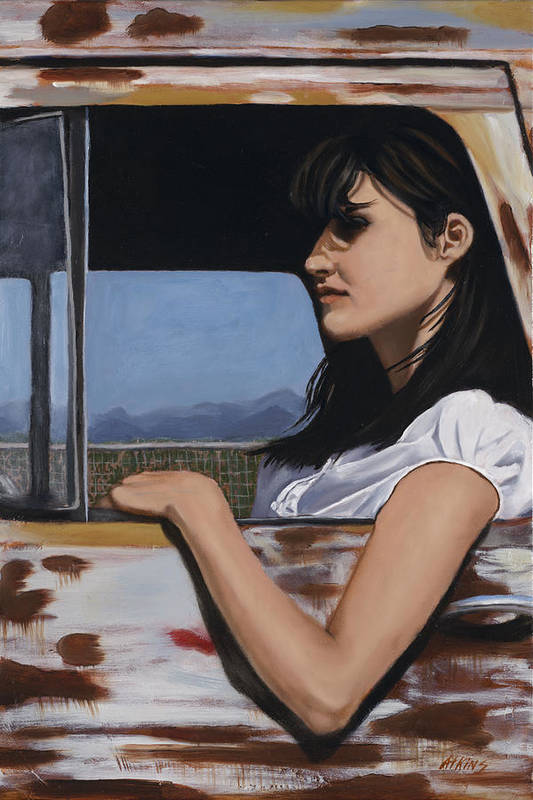 Cowgirl Art Print featuring the painting Daydreams by Jack Atkins