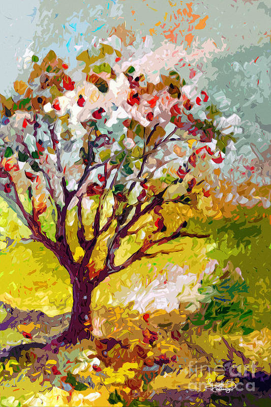 Trees Art Print featuring the painting Grandmas Apple Tree Modern Art by Ginette Callaway