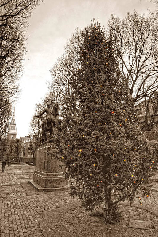 Paul Revere Print featuring the photograph Old North Church And Paul Revere by Joann Vitali