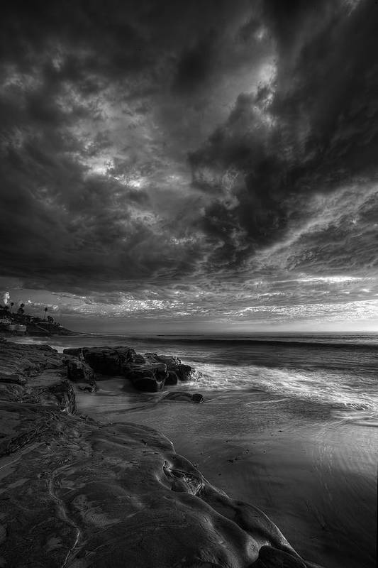 Clouds Art Print featuring the photograph Windnsea Stormy Sky Bw by Peter Tellone