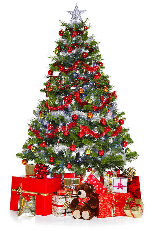 Christmas Art Print featuring the photograph Christmas Tree And Presents Isolated On White by Richard Thomas