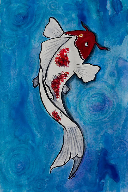 Koi Art Print featuring the painting Poetic Koi by Guy Hoffman
