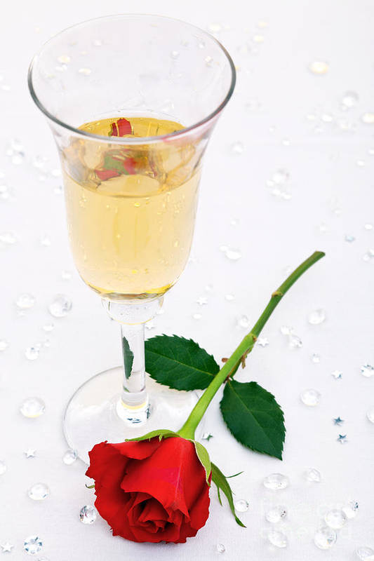 Red Art Print featuring the photograph Red Rose And A Glass Of Champagne by Richard Thomas