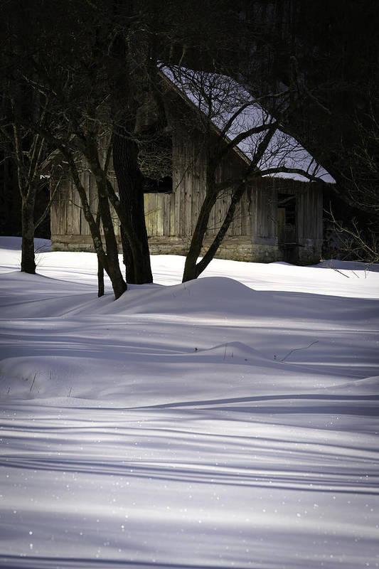 Barn Art Print featuring the photograph Winter Barn by Rob Travis