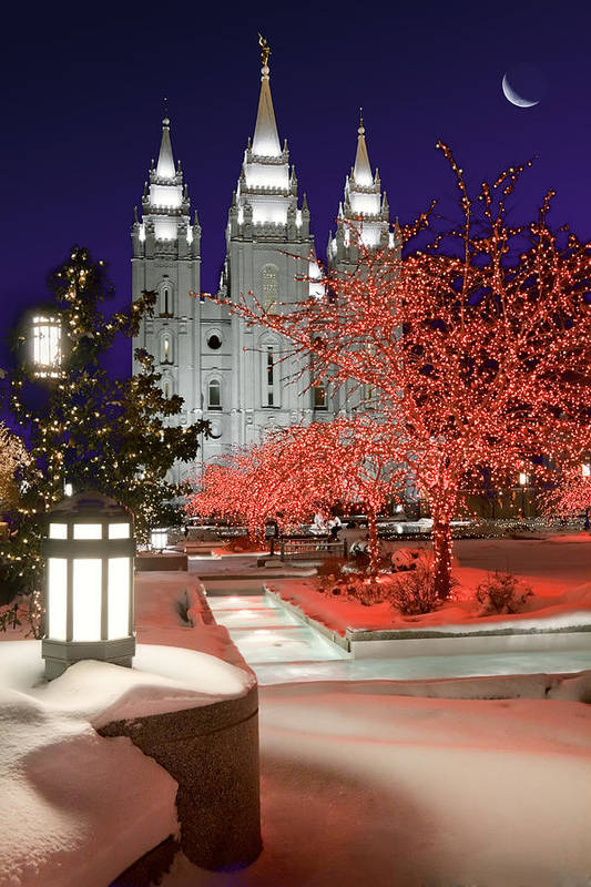 Mormon Temple Art Print featuring the photograph Christmas Lights At Temple Square by Utah Images