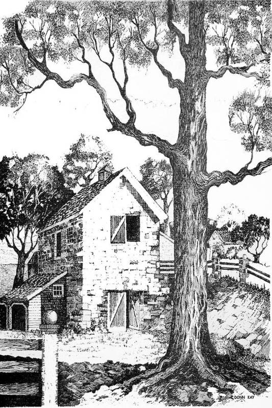 Texas Trees Barn Landscape Ink Giclee Prints Art Print featuring the drawing Grandpas Barn by Donn Kay