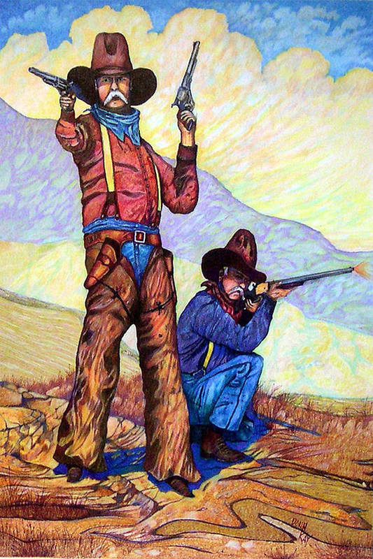 Western Art Cowboys Art Print featuring the drawing Bushwacked At The Arroyo by Donn Kay