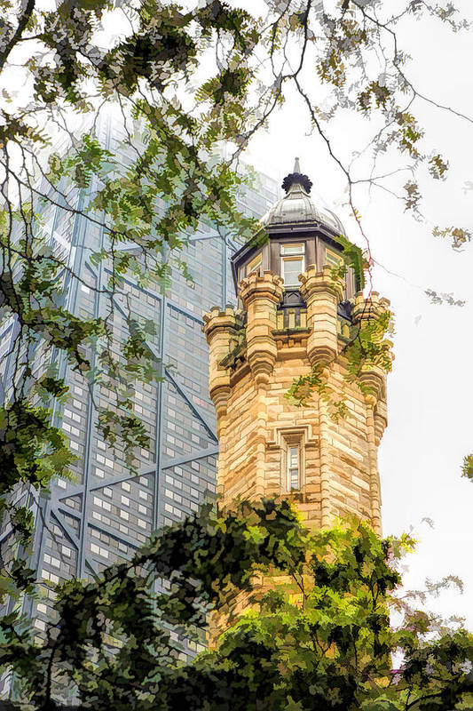 Chicago Art Print featuring the painting Chicago Historic Water Tower Fog by Christopher Arndt