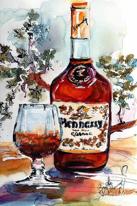 Cognac Art Print featuring the painting Cognac Hennessy Bottle And Glass Still Life by Ginette Callaway
