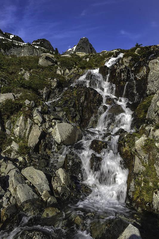Washington Art Print featuring the photograph Glacial Waterfall by Paul Conrad