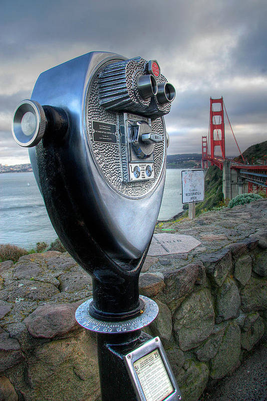 California Print featuring the photograph Golden Gate Binoculars by Peter Tellone