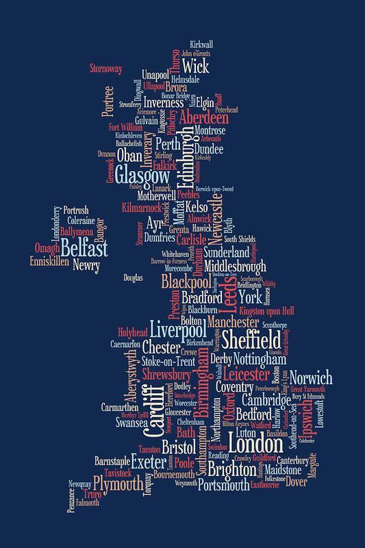 United Kingdom Art Print featuring the digital art Great Britain Uk City Text Map by Michael Tompsett