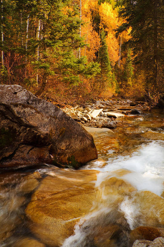 Autumn Art Print featuring the photograph Mountain Stream In Autumn by Utah Images