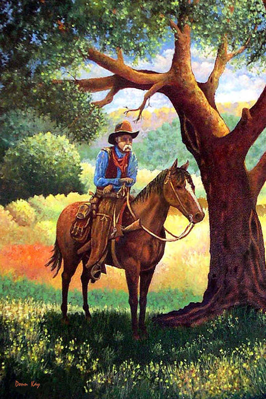 Texas New Mexico Cowboys Horses Trees Southwest Landscapes Giclee Prints Art Print featuring the painting Out Of The Noon Day Sun by Donn Kay