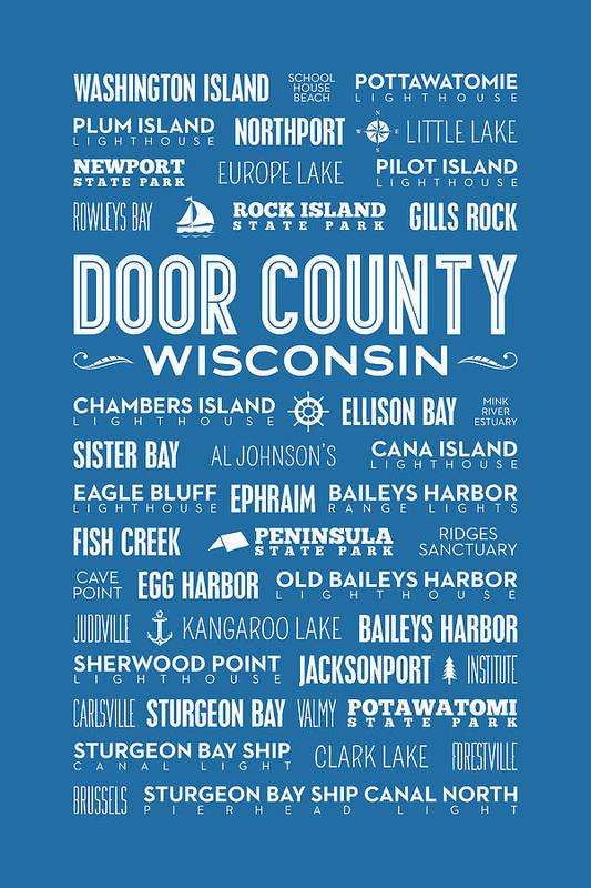 Door County Art Print featuring the digital art Places Of Door County On Blue by Christopher Arndt