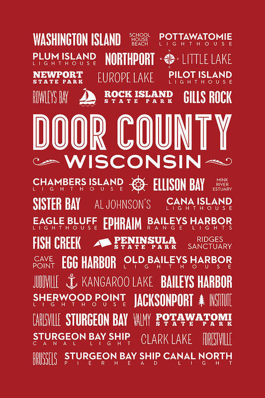 Door County Art Print featuring the digital art Places Of Door County On Red by Christopher Arndt