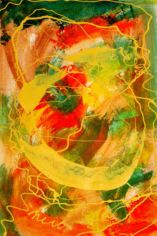 Abstract Print featuring the painting Punkin Patch by Mordecai Colodner