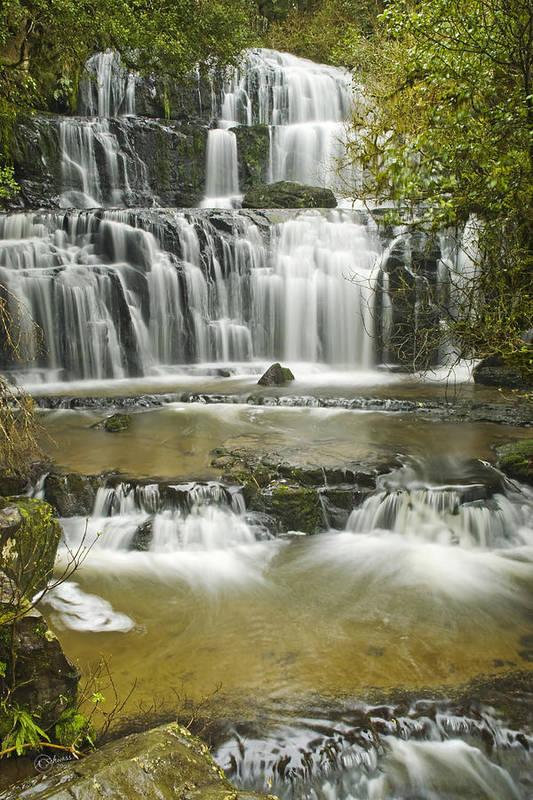 Water Art Print featuring the photograph Purakanui Falls by Andrea Cadwallader
