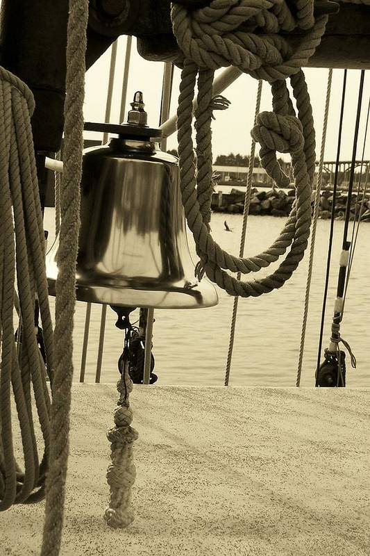 Rope Art Print featuring the photograph Ship's Bell Sepia by Mark Cheney