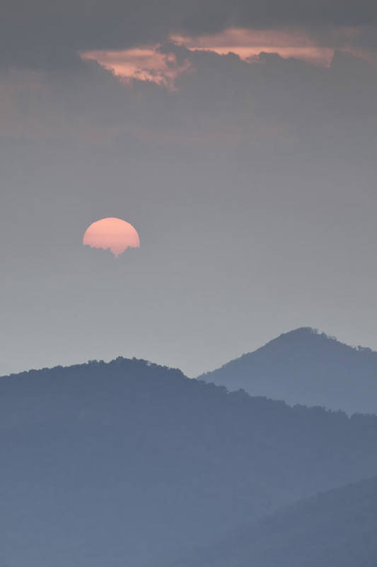 Blue Ridge Parkway Art Print featuring the photograph Sunset Repition - Blue Ridge Parkway Sunset Scene by Rob Travis