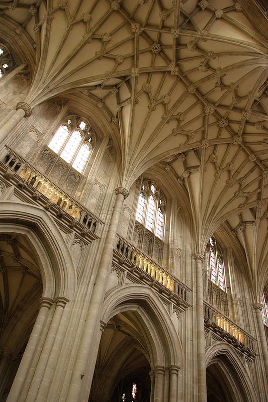 Winchester Cathedral Art Print featuring the photograph Vaulted Ceiling by Michael Hudson