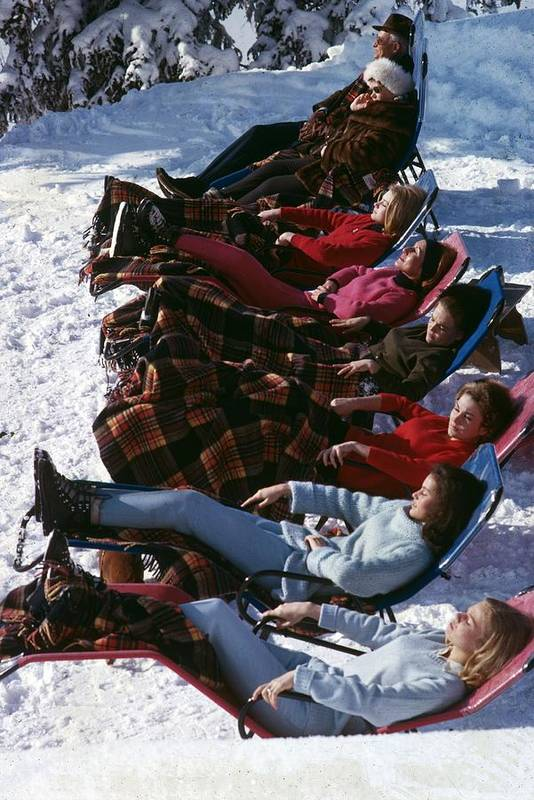 Gstaad Art Print featuring the photograph Winter Suntans 1 by Slim Aarons