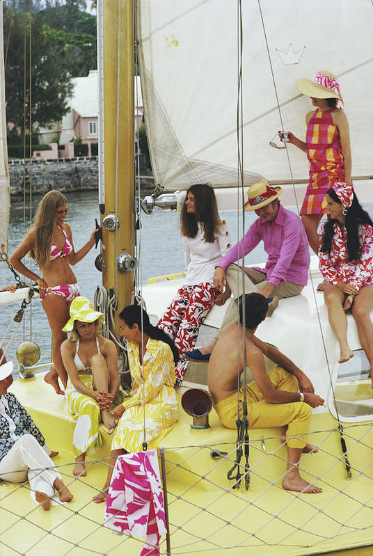 People Art Print featuring the photograph Colourful Crew by Slim Aarons