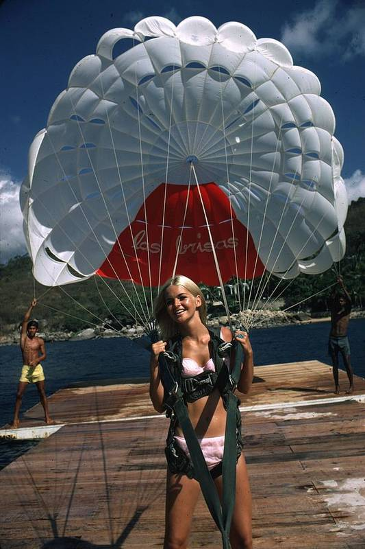 Recreational Pursuit Art Print featuring the photograph Paraglider by Slim Aarons