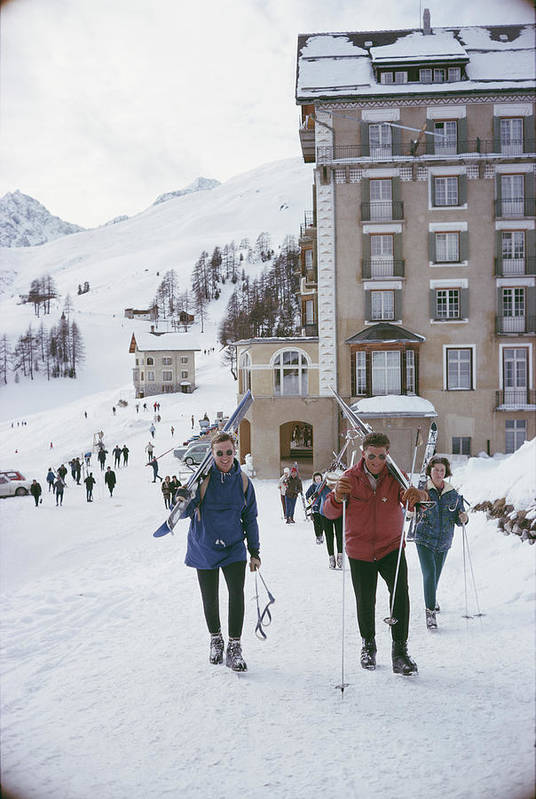 Ski Pole Art Print featuring the photograph Skiers In St. Moritz by Slim Aarons