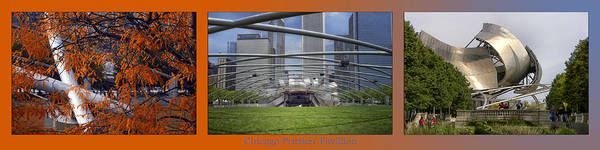Chicago Art Print featuring the photograph Chicago Pritzker Music Pavillion Triptych 3 Panel by Thomas Woolworth