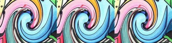 Abstract Art Print featuring the digital art Three Swirls by Helena Tiainen