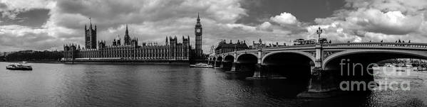 Westminster Art Print featuring the photograph Westminster Pano Bw by Matt Malloy