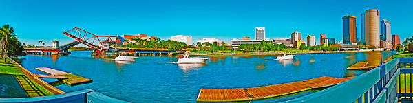 Tampa Panorama Art Print featuring the photograph 4x1 Downtown Tampa Panorama by Rolf Bertram