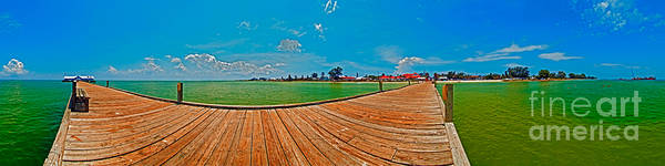 Panorama Art Print featuring the photograph Anna Maria Island Seen From The Historic City Pier Panorama by Rolf Bertram