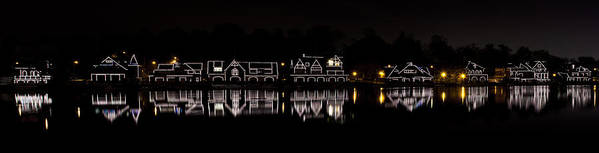 boathouse Row Print featuring the photograph Boathouse Row Panorama - Philadelphia by Brendan Reals