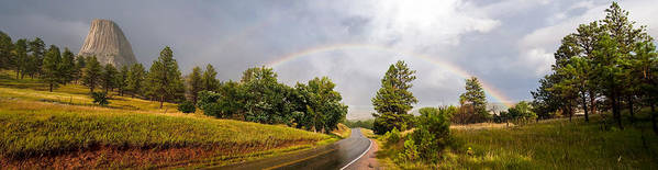 Devils Art Print featuring the photograph Double Rainbow At Devils Tower by Marion Wear