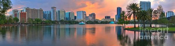 Orlando Florida Art Print featuring the photograph Orlando Skyscrapers And Palm Trees by Adam Jewell